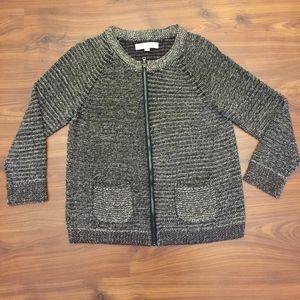 Ann Taylor Loft Full Zipper Crew neck Sweater Sz M
